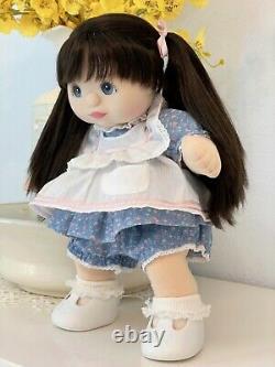 1987 Mattel My Child Doll RARE Blue-Eyed Brunette Ultra Long Restored & Dressed