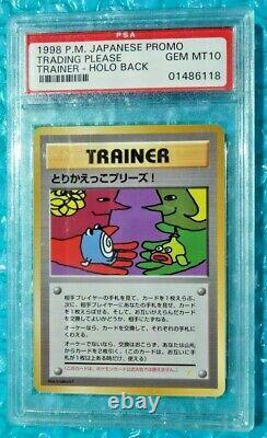 1998 Pokemon Japanese Trading Please Holo Back Promo PSA-10 Vintage Case