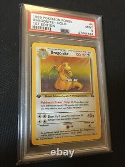 1st Edition Dragonite 4/62 PSA 9 MINT Fossil Holo Vintage Pokemon Card Vintage