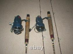 2 Mitchell Garcia 508 Spinning Reels with Conolon 5 Star 5' Ultra Lite Rods Rare