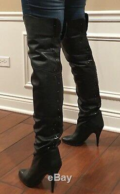 30 Ultra Rare Wild Pair Vintage Black Leather Thigh High Over The Knee Boots