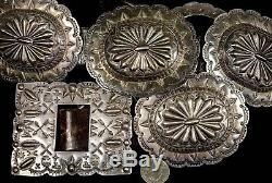 55 Vintage Old Pawn Navajo Ultra Rare Fred Harvey Era Coin Sterling Concho Belt
