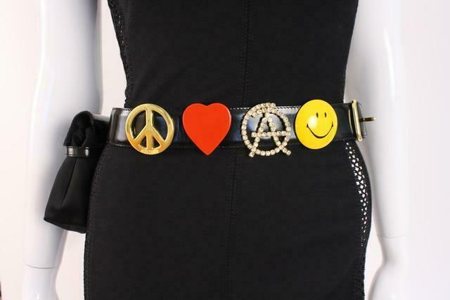 Authentic 80's Ultra Rare Vintage Moschino Peace, Love, Anarchy Women's Belt