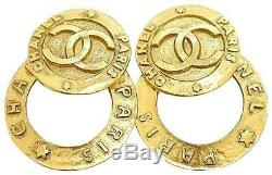 Authentic CHANEL Ultra Rare 2 Way Large Hoop Vintage Gold Plate Clip On Earrings