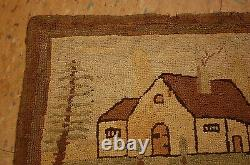 C1900s ANTIQUE ULTRA RARE GRENFELL HOOKED RUG 11x1' 10 Dr. Wilfred T. Grenfell