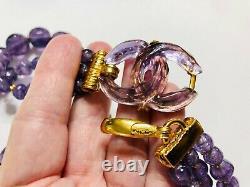 CHANEL France Purple Poured Gripoix Resin Vintage CC Necklace ULTRA RARE