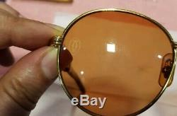 Cartier Wood Sunglasses Auteuil Gold Plated Vintage Ultra Rare 135/18/55 LIMITED