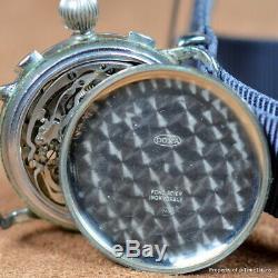 DOXA VINTAGE 1930s PILOT CHRONOGRAPH 40MM VALJOUX 22 GILT DIAL RADIUM ULTRA RARE