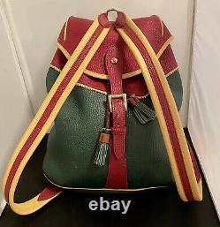 Dooney & Bourke Large Sherpa Teton Bag- ULTRA Rare Rouge, Green And Palomino