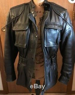 HARLEY DAVIDSON Hein Gericke Cafe Leather Jacket Black VTG 46 Ultra Rare