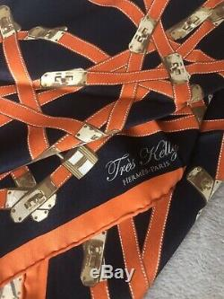 Hermes Foulard Carre 70 Très Kelly 100%silk Vintage Ultra Rare