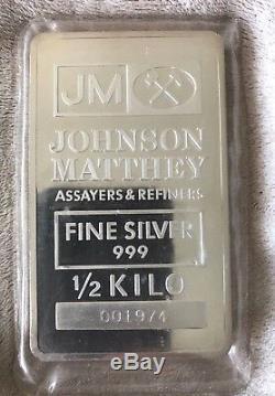 J&m Johnson Matthey 1/2 Kilo Silver Bullion Bar Sealed Vintage Ultra Rare Size