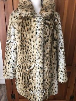 Lilli Ann Ultra Rare Vintage 70s Faux Fur Lynx Swing Coat S/M