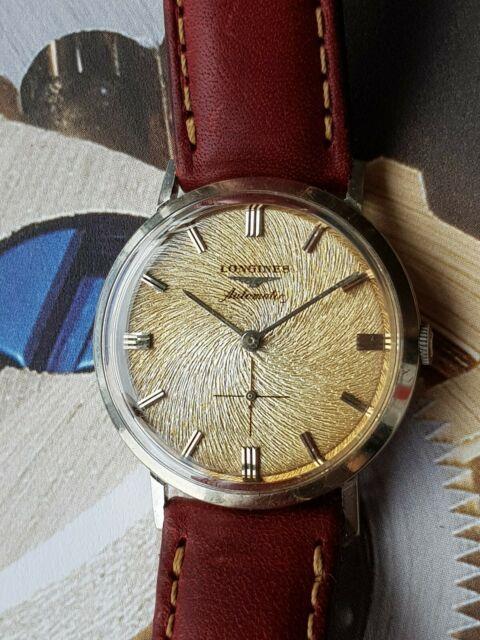 Longines Vintage Gold Guilloche Dial Automatic 1958 Calatrava Watch, Ultra Rare
