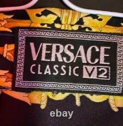 Mens Vintage Versace Barocco V2 Tiger Silk Shirt- Men's (Ultra Rare)
