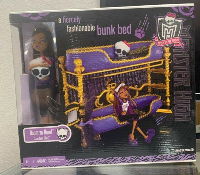 Monster High Room To Howl Bunk Bed & Dead Tired Clawdeen Wolf Playset 2011 Nib