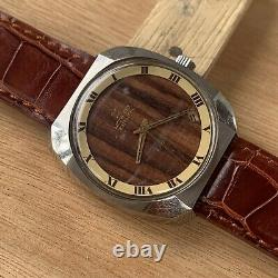 Movado Ultra Rare WOOD DIAL Vintage NOS Mint Watch Never Used Steel Man
