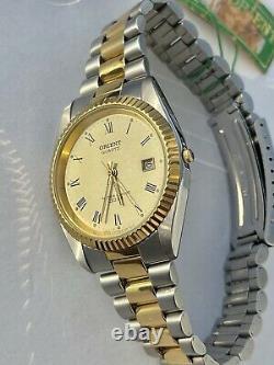 NWT! ULTRA RARE Orient President Datejust Two Tone Quartz Watch VTG USA SELLER