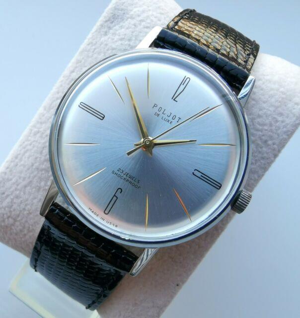 New Old Stock Ultra Slim Ussr Made Poljot De Luxe Wrist Watch 2209 Movement Rare
