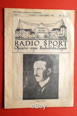 Nikola Tesla On Native Cover 1924 Ultra Rare Vintage Exyugo Magazine