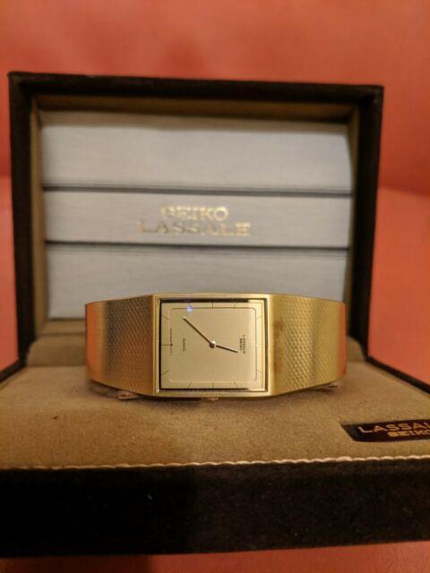Rare Vintage Ultra Thin Seiko Lassale Gold Tone Watch Box & Papers
