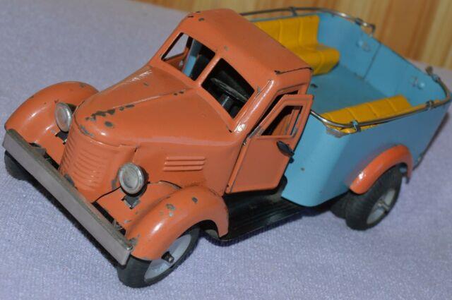 Rrr Antique Ultra Rare Toy 1950s! Vtg Russian Soviet Car Metal Truck Tin