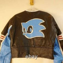 SEGA Sonic the Hedgehog Leather Racing Jacket 90s Vintage Ultra Rare Size M