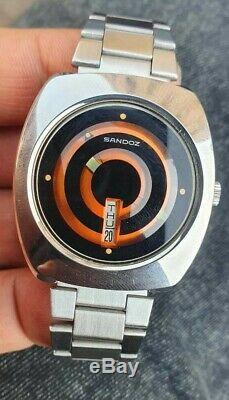 Stunning Ultra Rare SANDOZ Mystery Orange Dial 25 Jewels Automatic Watch Nos