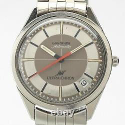 Super Rare Longines Vintage Ultra-Chron Watch with Box 10mm Thin Stainless 35mm