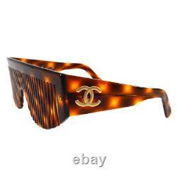 ULTRA RARE! Auth CHANEL Vintage CC Logos Comb Sunglasses Brown Plastic RK12804g