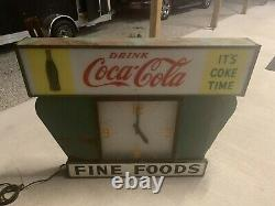 ULTRA RARE VINTAGE Large Coca-Cola Fine Foods Lighted Diner Clock Sign
