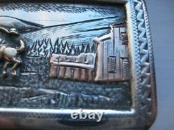 ULTRA-RARE Vintage SROUR Sterling 10K BRONC RIDER SCENE Western Buckle UNIQUE
