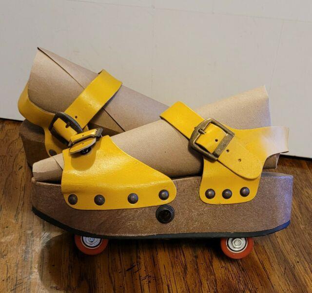 Ultra Rare Vtg Omnia C Pop Out Convertible Sandals (roller Skates) Italy