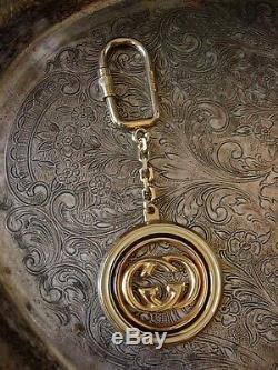 Ultra RARE Auth Vintage GUCCI ENAMEL Key Ring Bag Charm Luggage Tag Accessory