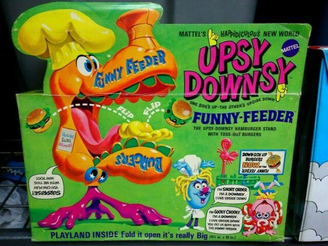 Ultra Rare Mattel 1969 Upsy Downsy Funny Feeder Playset-mib-unused