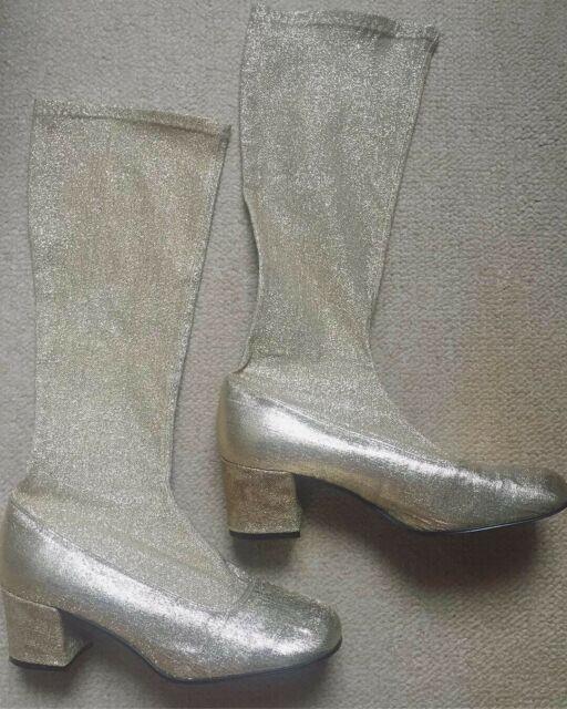 Ultra Rare Vintage 70s Gold Lurex Disco Gogo Boots Hippie Boho Mod Uk4 Eur 37