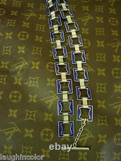 Ultra RARE Vintage GUCCI Cobalt Blue Enamel & Silver STATEMENT Belt Necklace