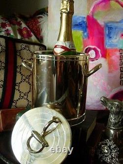 Ultra RARE Vintage GUCCI Equestrian Ice Bucket Wine Cooler Holiday Barware Table