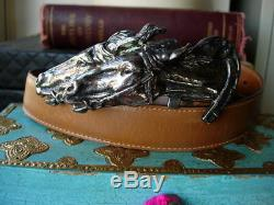 Ultra RARE Vintage GUCCI Equestrian Silver HORSE HEAD STATEMENT Belt Accessory