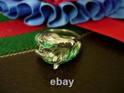 Ultra RARE Vintage GUCCI Horse Stirrup Ring Silver 925 Enamel Couture Jewelry