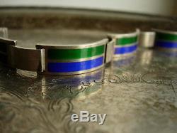 Ultra RARE Vintage GUCCI Silver 925 Enamel Jewelry Couture Italian GG Bracelet