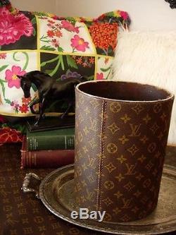 Ultra RARE Vintage LOUIS VUITTON Executive Desk Accessory Waste Trash Can Bucket