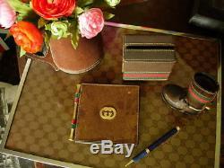 Ultra RARE Vintage Leather GUCCI PICTURE Photo Art FRAME Decor Desk Accessory
