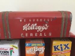 Ultra RARE vintage deco original Kelloggs Cereals metal countertop display
