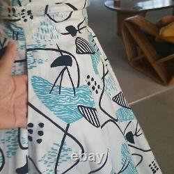 Ultra Rare Alfred Shaheen Atomic Print 1950s Vintage 2 Piece Skirt Set XS