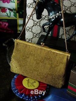 Ultra Rare GUCCI Vintage Gold Beaded Minaudiere Evening Bag Kisslock GG Purse