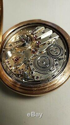Ultra Rare Montandon LeCoultre Minute Repeater Pocket Watch, Heavy 14K Hunter