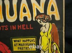 Ultra Rare Original 1967 Morgan Love Marihuana Marijuana Weed Black Light Poster