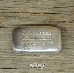 Ultra Rare Vintage 3 ounce Engelhard 999+ Poured Silver Bar 53897 MFR