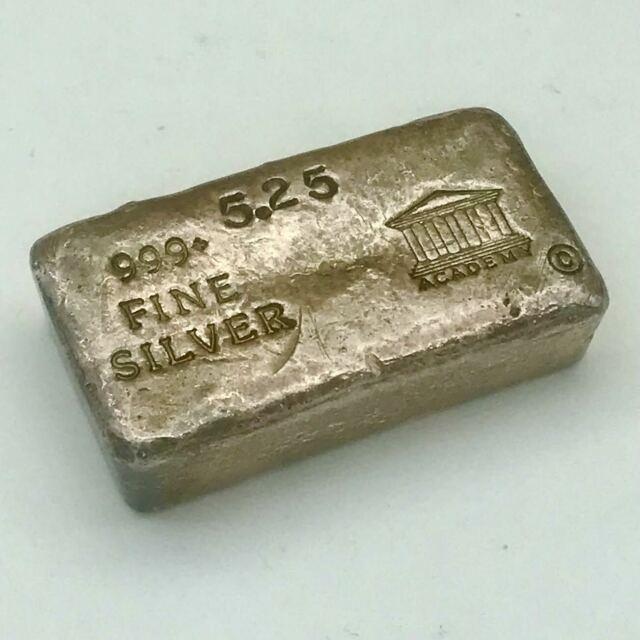 Ultra Rare Vintage Academy C. S. R. Co. 5.25 Oz Silver Ingot Bar 999+ (1of4 Known)